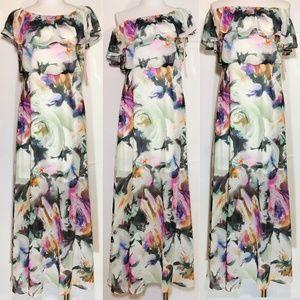 Betsey Johnson Off Shoulder Floral Maxi Dress Sz 2